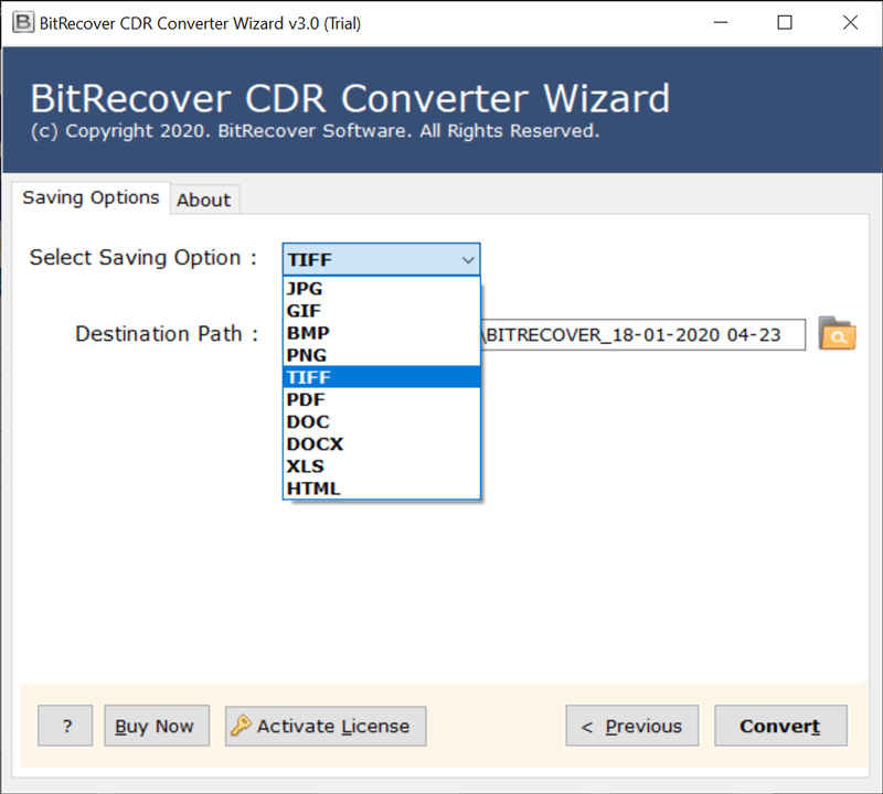 Convert CDR to TIFF