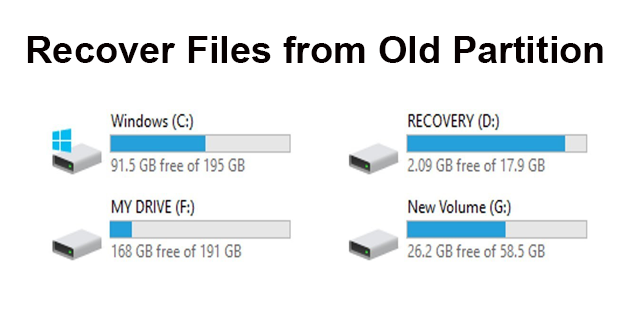Recover files from old partition
