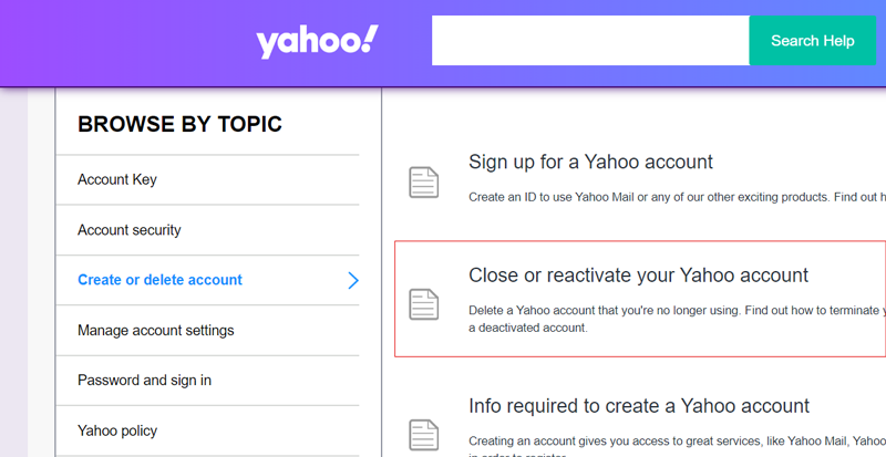 close or reactive your Yahoo account