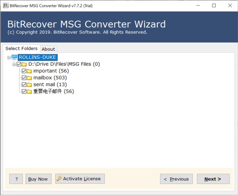 desired MSG folder