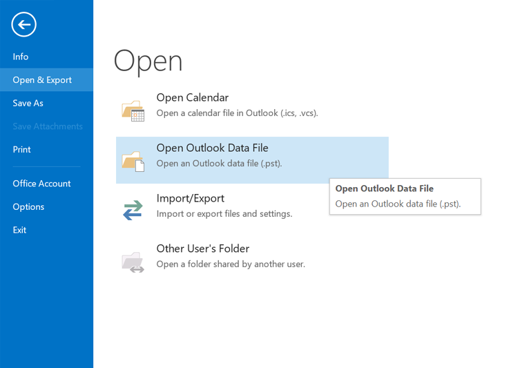 Open Outlook Data File in Outlook