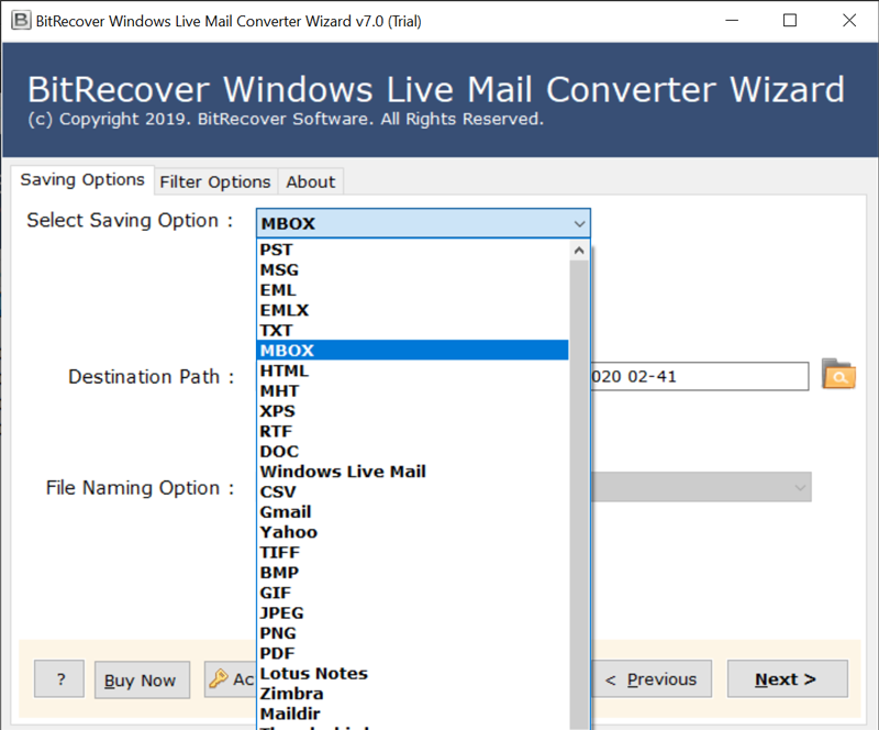 windows live mail export mbox