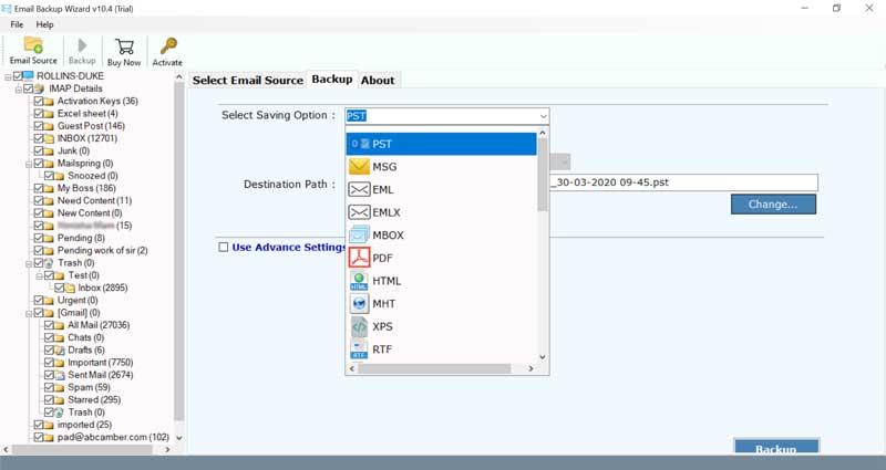 Backup Arcor Emails