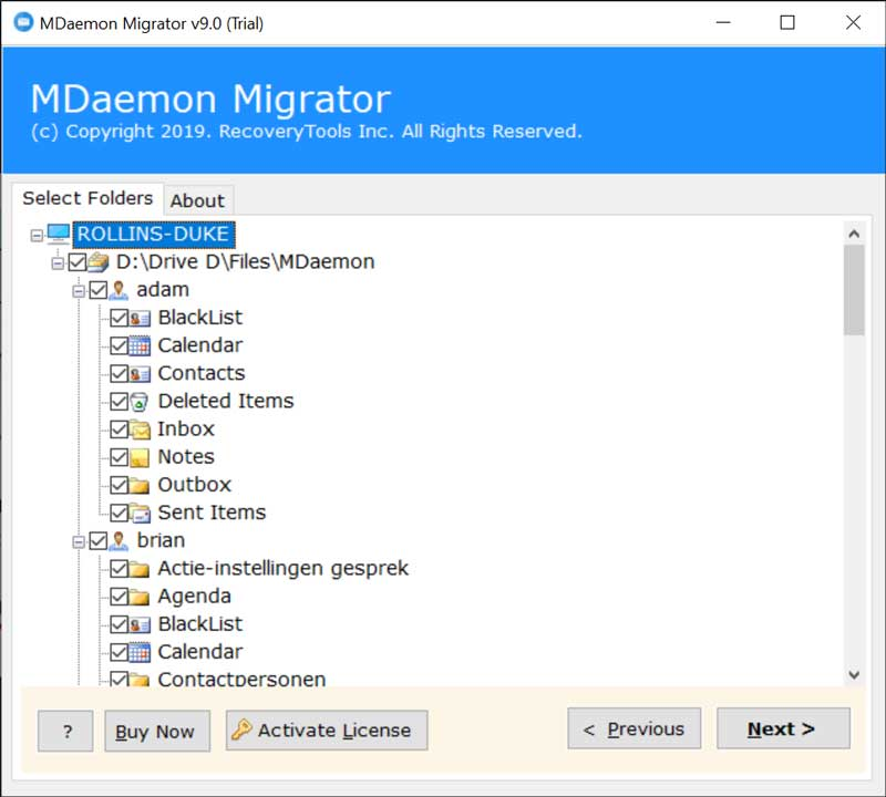 Choose MDaemon folders