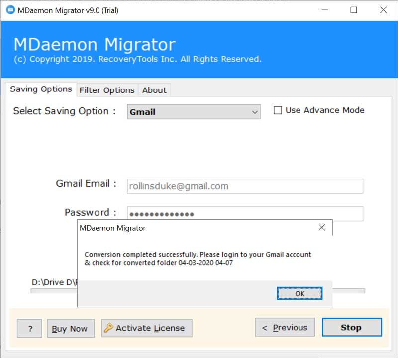 MDaemon Webmail to Gmail