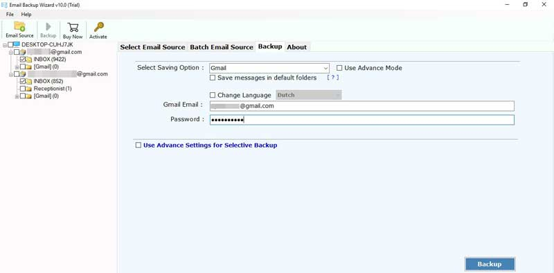 password of the target Gmail account