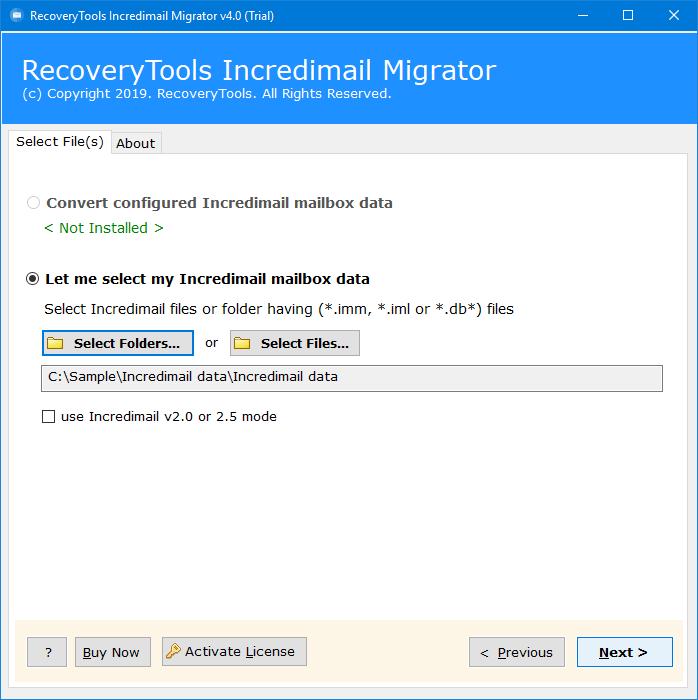 choose incredimail files