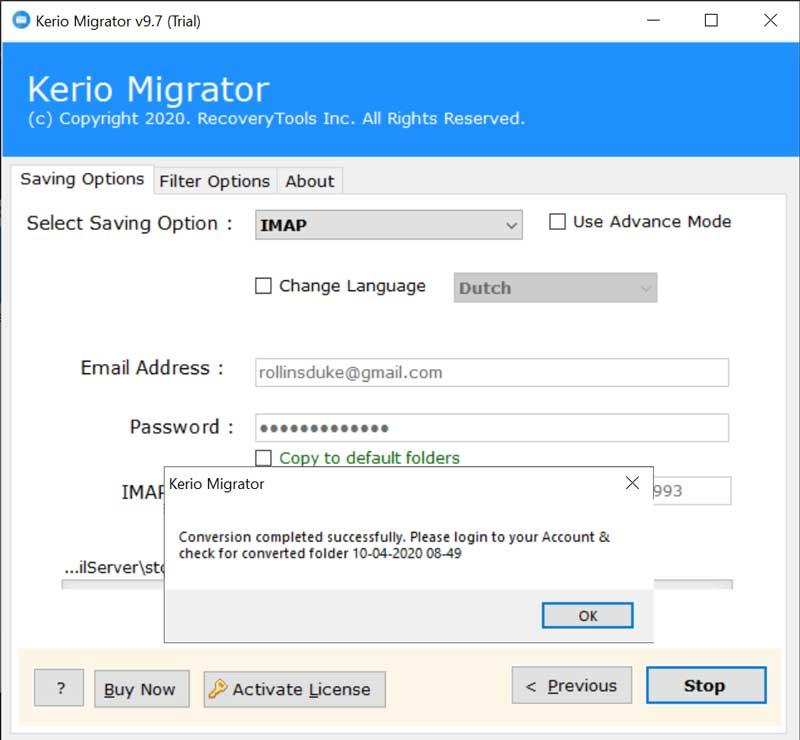 Convert Kerio Email Accounts to IMAP