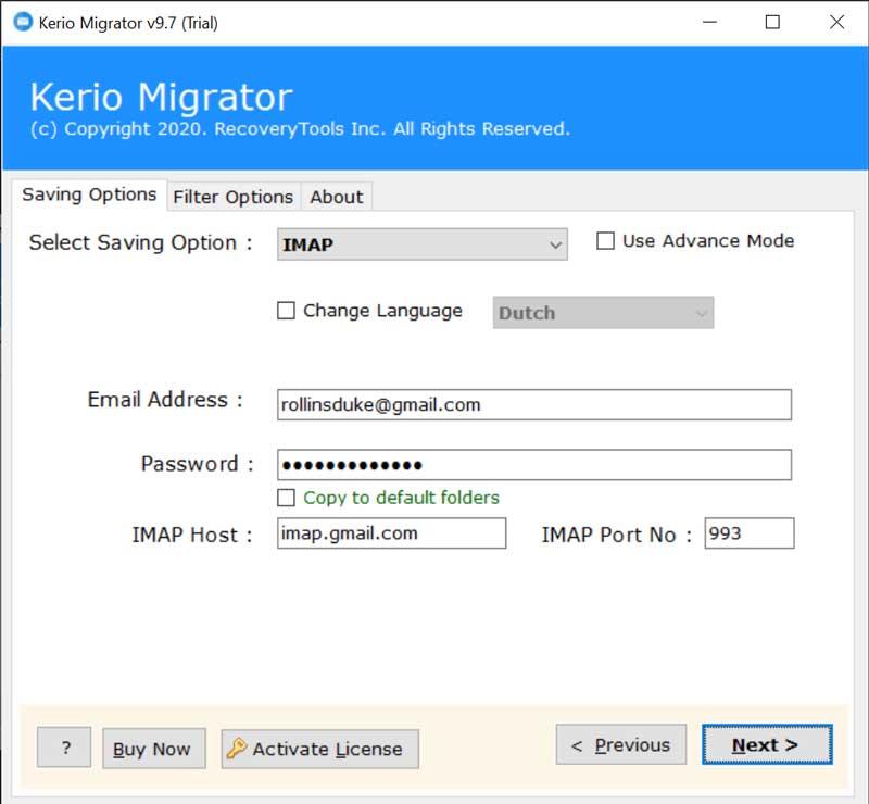 Enter IMAP credentials