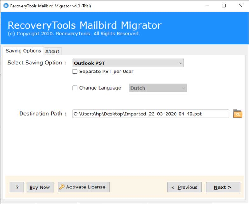 Export Mailbird File and Folder