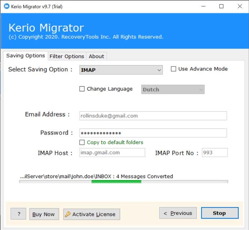 Kerio connect to IMAP Server