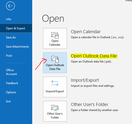Open Outlook PST file