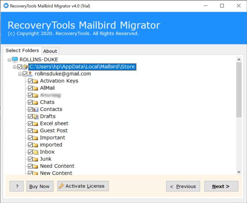 required Mailbird folder