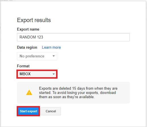 Export Google Vault emails in MBOX