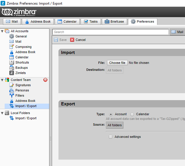 open zimbra to view smartermail emails