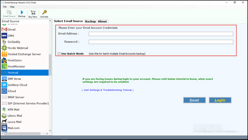 credentials of Hotmail.com
