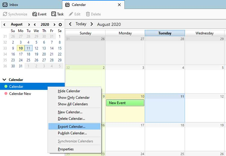 Export Calendar