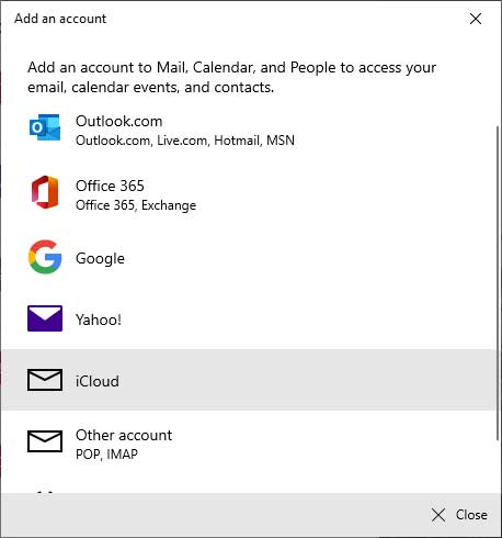 windows 10 mail app not syncing with icloud