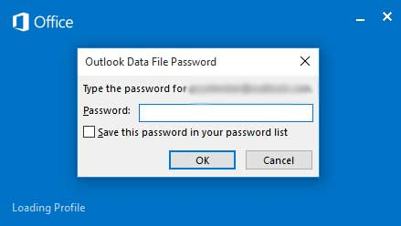 Outlook 2019 keeps asking for password