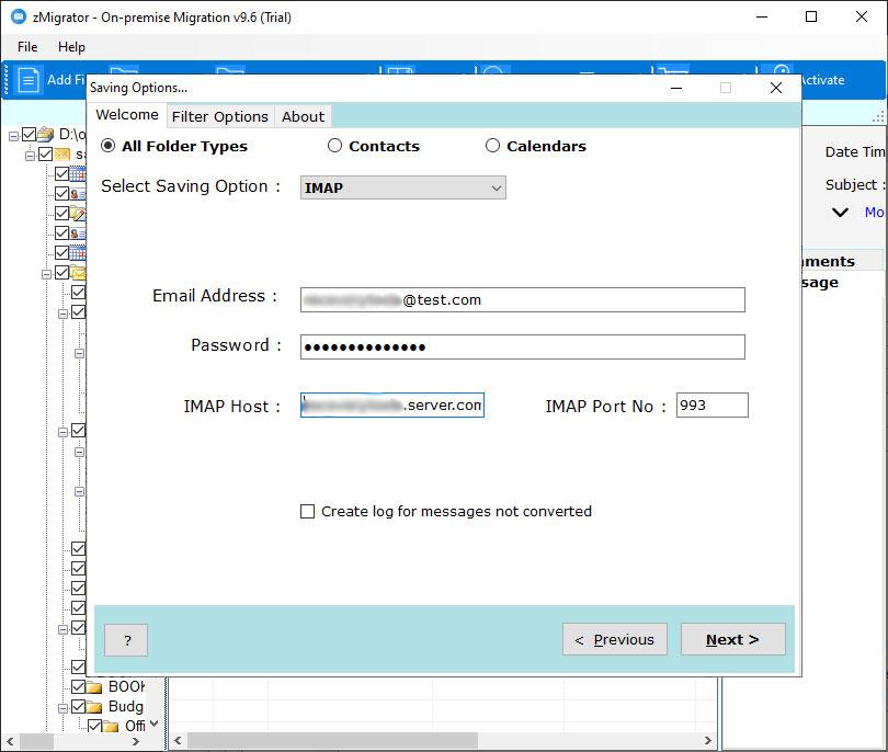 enter-zimbra-server-login-details