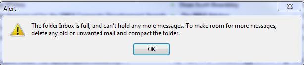 Thunderbird email inbox full error