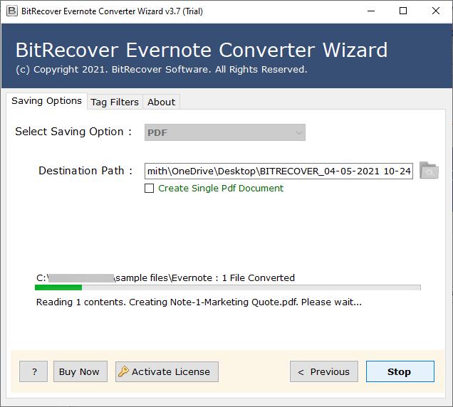 Evernote ENEX to PDF conversion