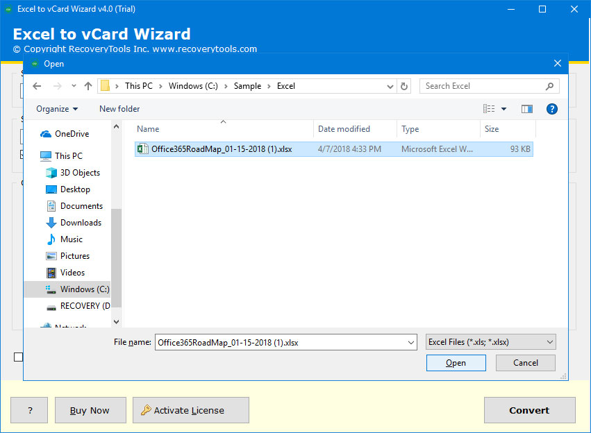 Excel to vCard Wizard