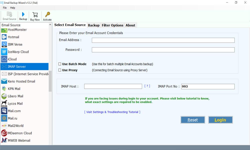 select IMAP server