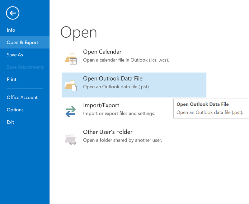 Open Outlook Data File
