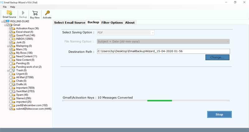 Downloading Zentyal Server emails