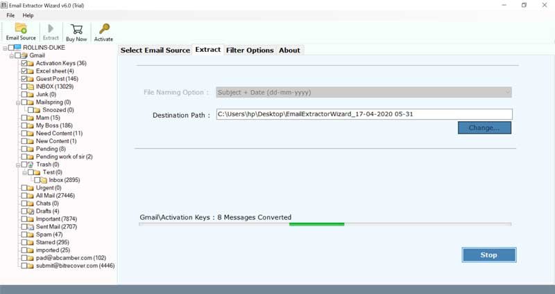 Extracting Webmail Messages