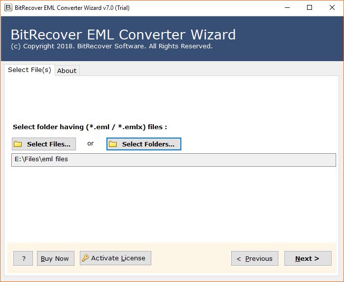 selected EML file path