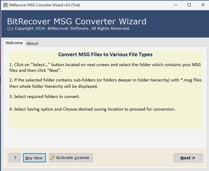 BitRecover MSG to PST Converter Wizard