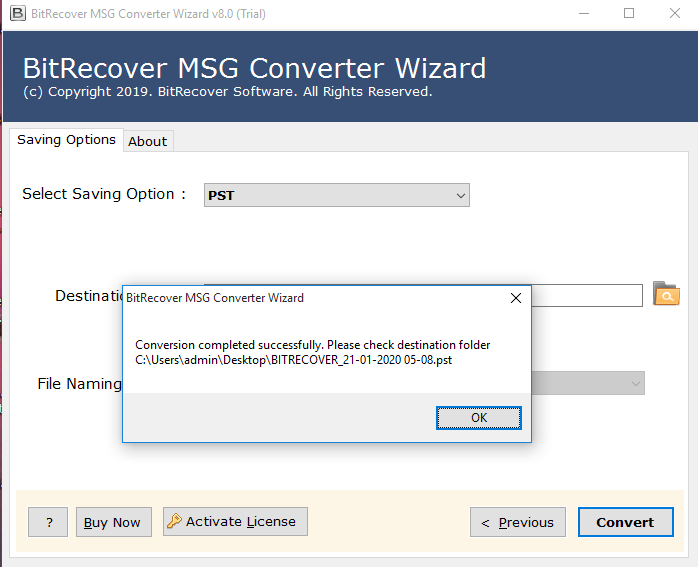 Start MSG to PST Conversion