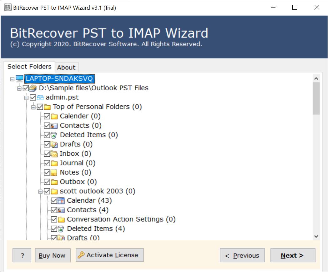 specific PST folders