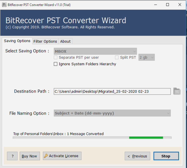 Start PST to MBOX Conversion
