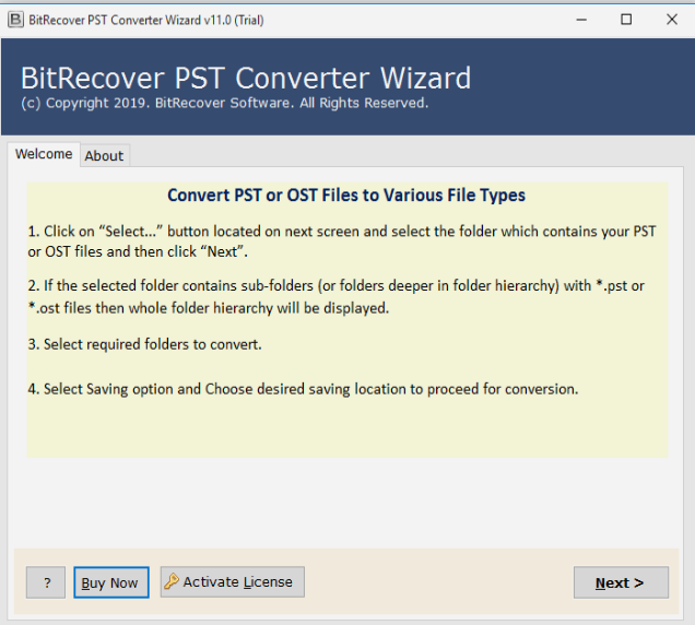 BitRecover PST to MBOX Converter Wizard