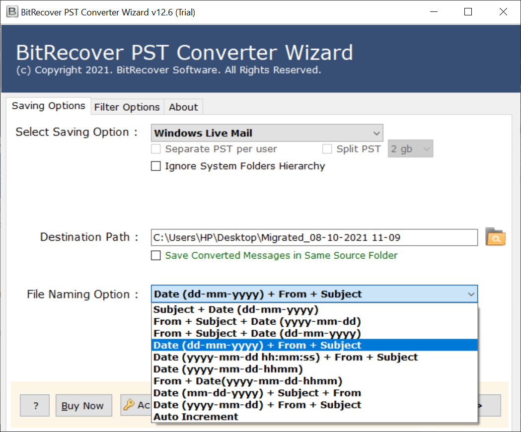 Outlook to Windows Live Mail Converter