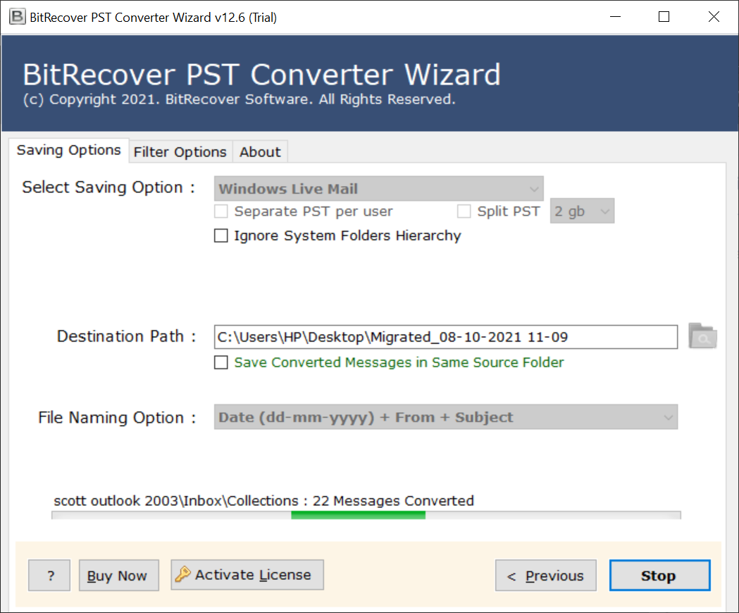 Import PST to Windows Live Mail