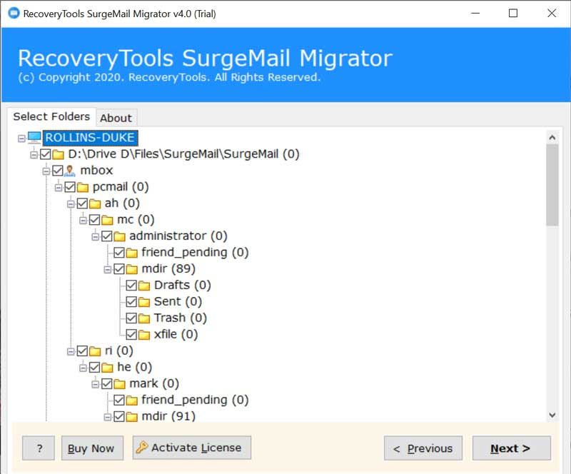 Check SurgeMail Folders
