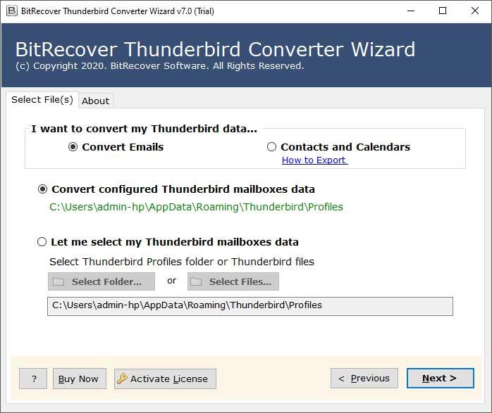 Load Thunderbird profile