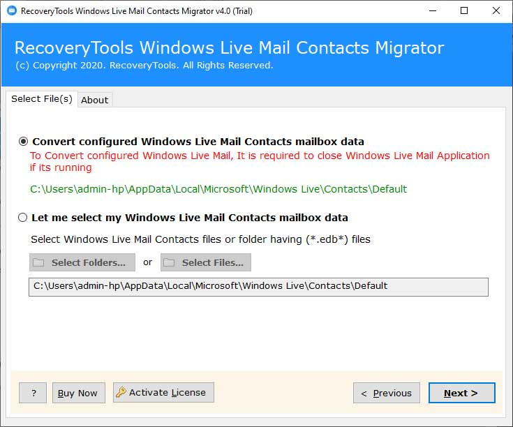 upload Windows Mail contacts