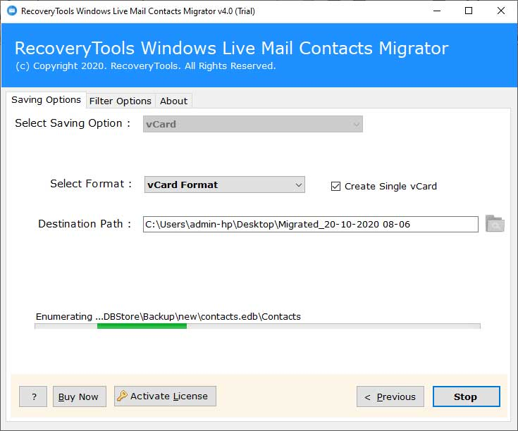 moving contacts from Windows Live Mail to Windows 10 Mail