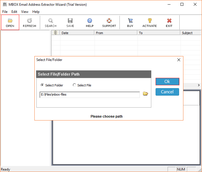 MBOX Email Address Extractor Wizard
