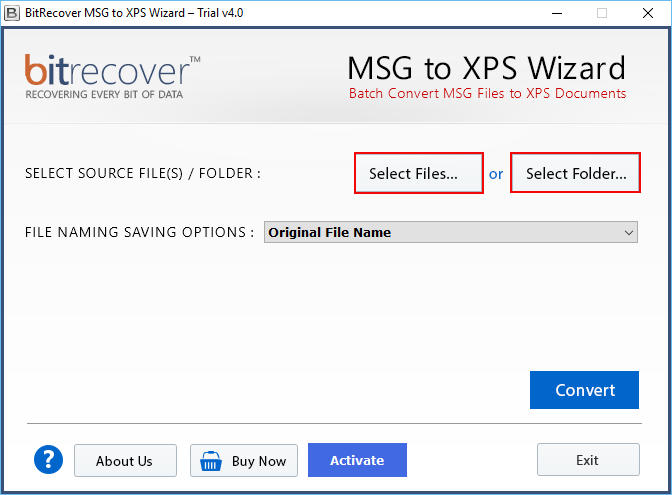 MSG to XPS  software