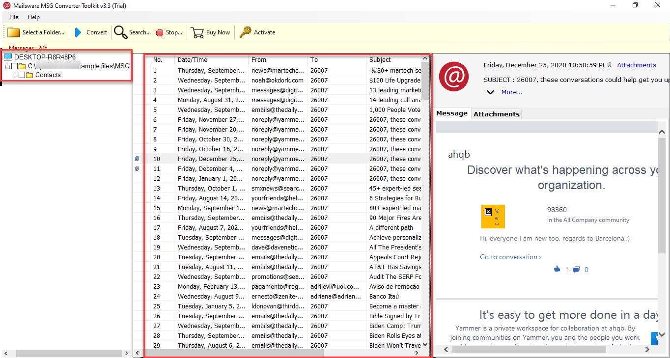 selected msg Folder