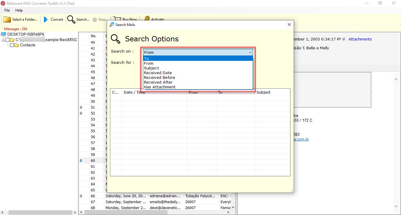 search MSG Files