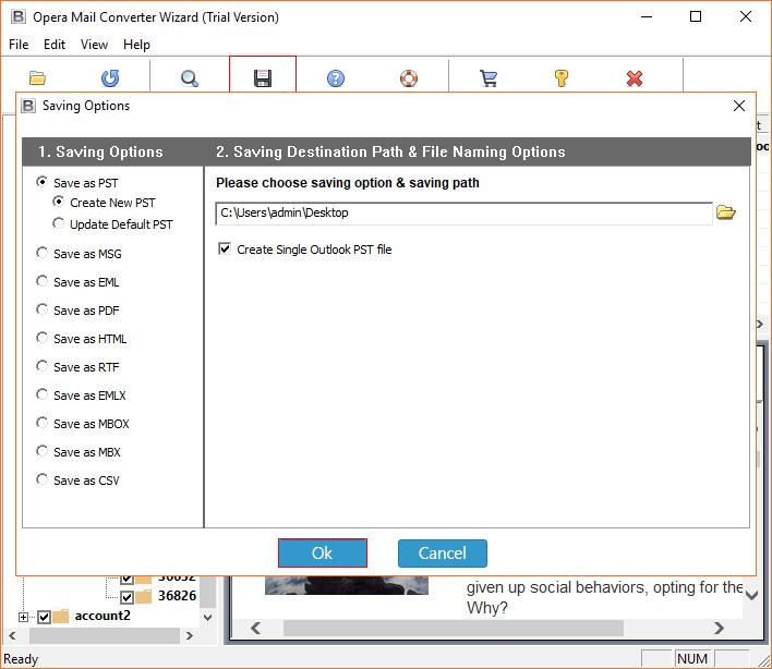 Create single Outlook PST file