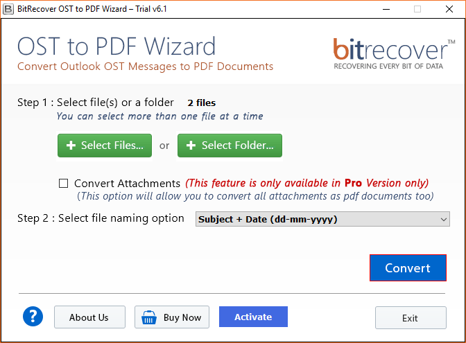 BitRecover OST to PDF Wizard