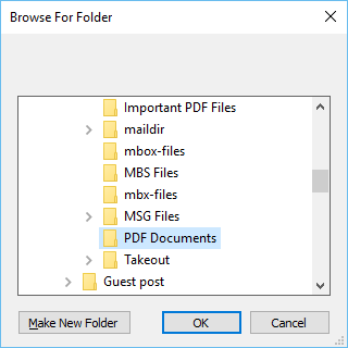 choose folder containing PDF